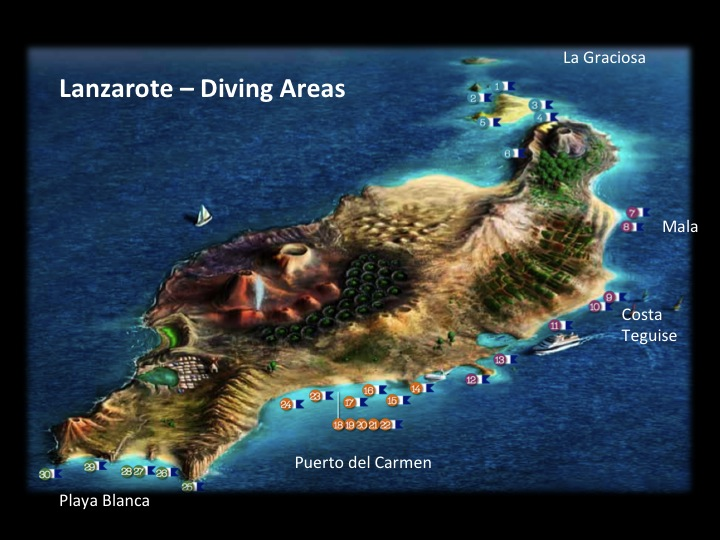 Carte sites plongee lanzarote